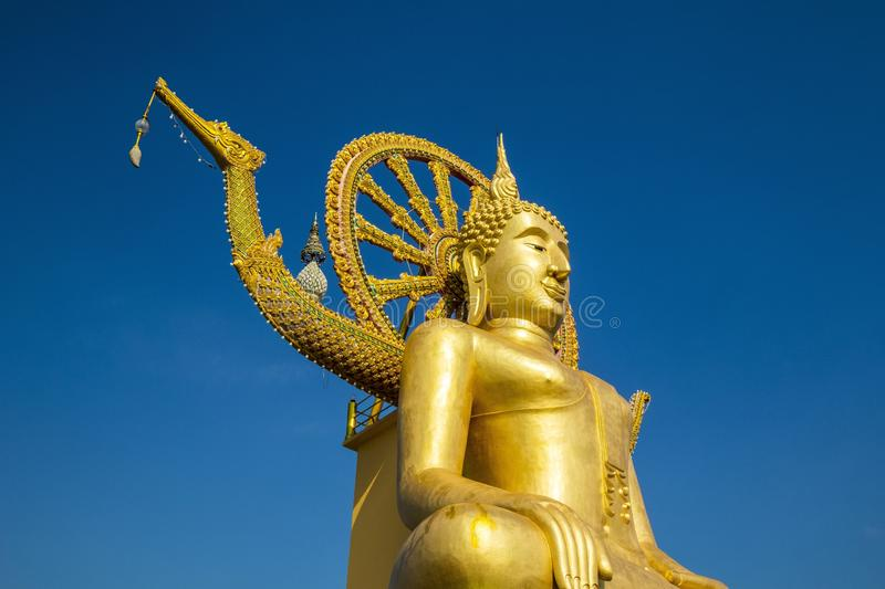Low angle shot of Big Buddha statue in Koh Samui, Thailand royalty free stock images