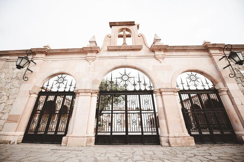 Low angle shot of cathedral church gates in Zacatecas Mexico. A low angle shot of cathedral church gates in Zacatecas Mexico stock photo