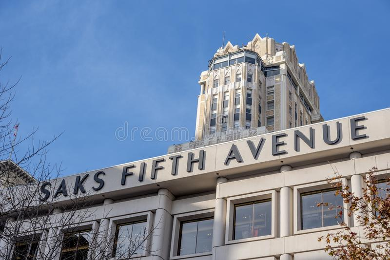 Low angle shot of the entrance of the Saks Fifth Avenue captured in San Francisco, United States stock images