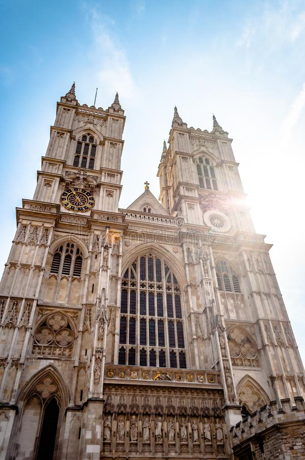 Low angle shot of the famous Westminster Abbey Collegiate church in London, England stock images