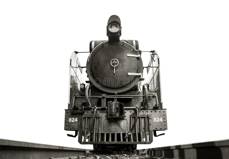 Low angle shot Front of steam locomotive Pacific on the tracks. stock images