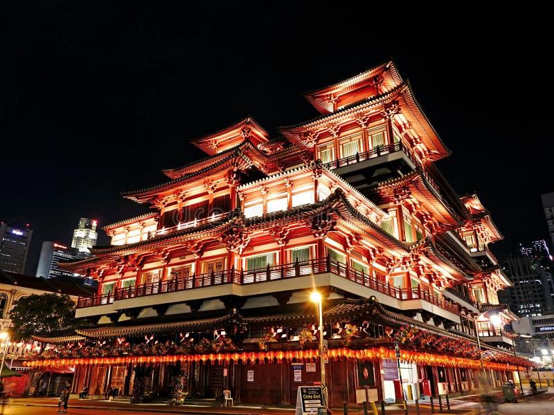 Low Angle Shot of Illuminated Building at Night stock photo
