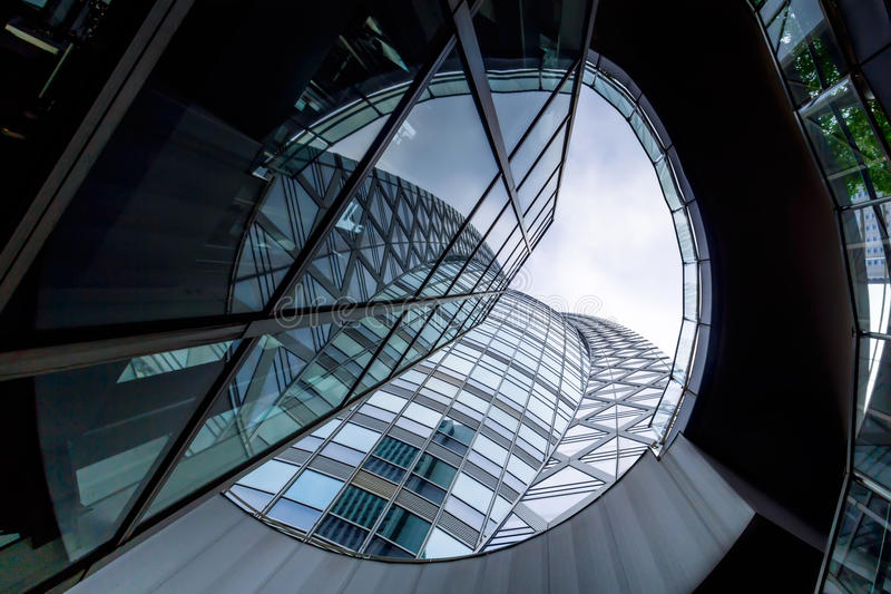 Low angle shot of modern glass city building.  royalty free stock photos