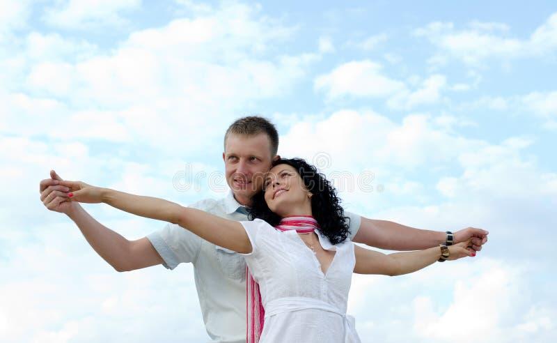 Beautiful couple celebrating royalty free stock photos