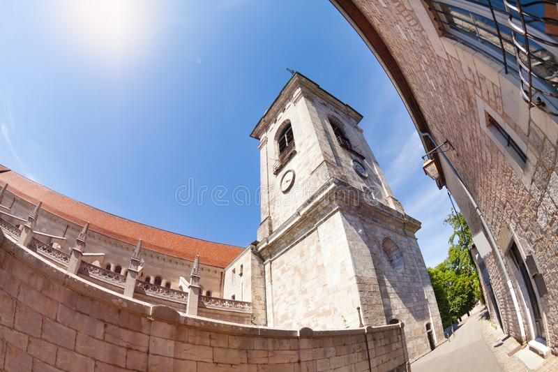 Low angle view of Besancon St. Jean Cathedral royalty free stock image