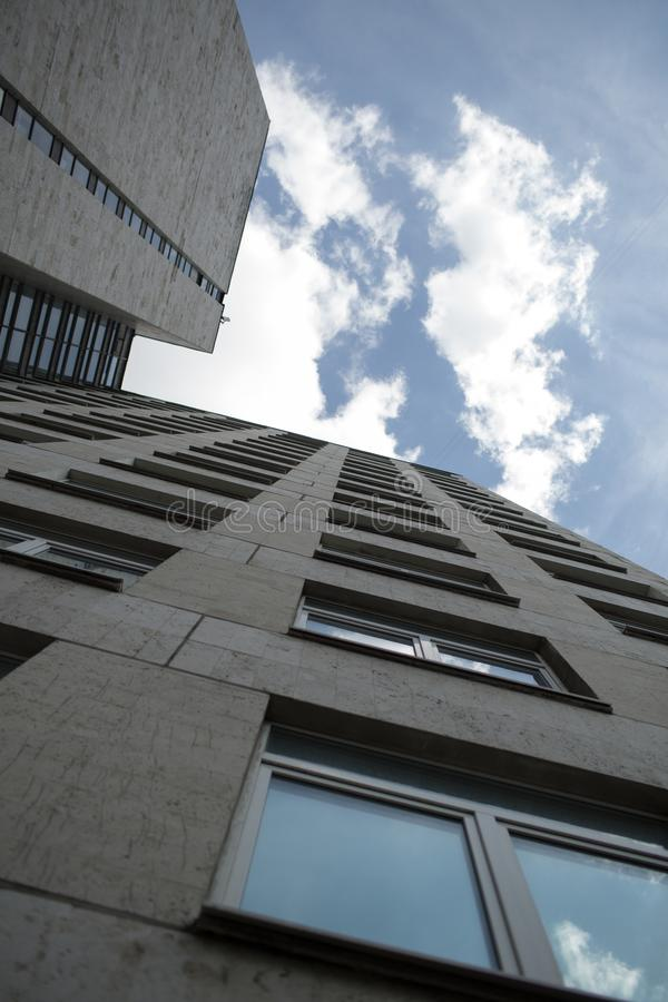 Low angle view of building, blue sky with clouds. Moscow royalty free stock images