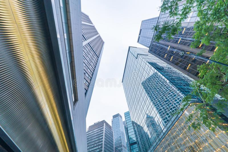 Low angle view of central skyscraper building in Hong Kong, China royalty free stock photos