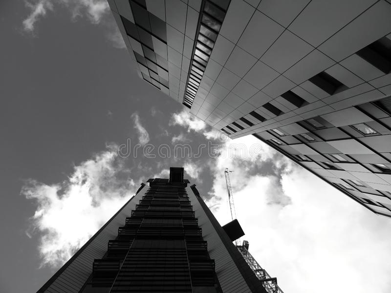 Low angle view of city buildings stock photo