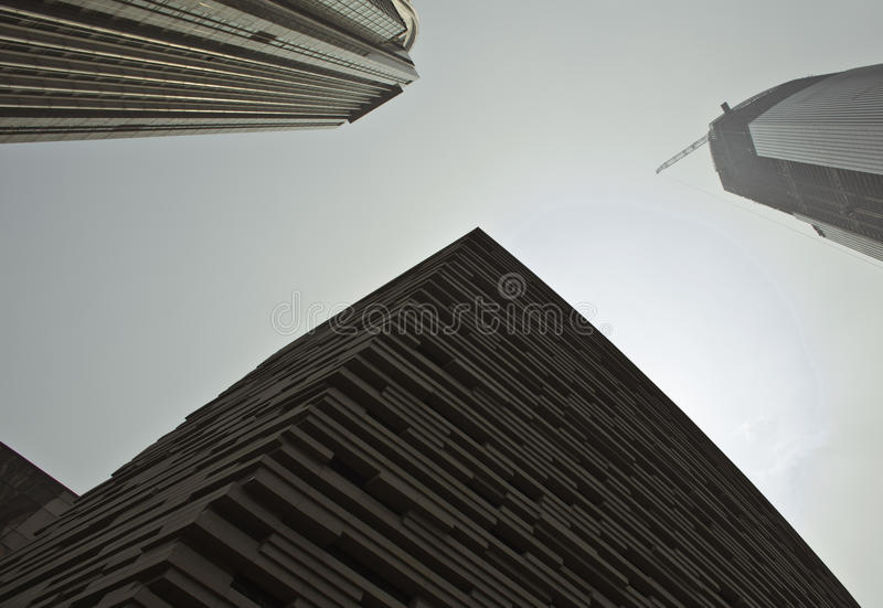 A low angle view of city sky scrapers royalty free stock photos
