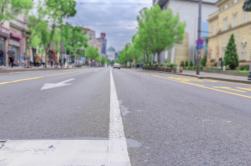 Low angle view of city street. Close royalty free stock image