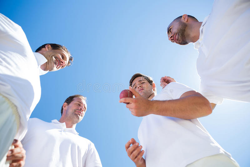 Low angle view of cricket team standing on field royalty free stock photography