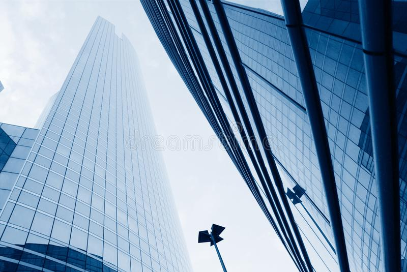 Low angle view of different corporate buildings. In europe stock image