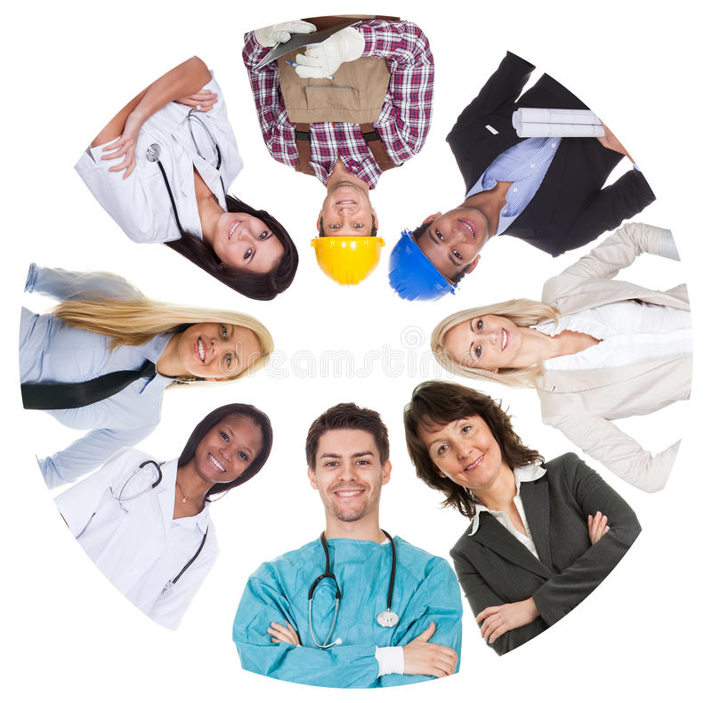 Low angle view of diverse professional group royalty free stock image
