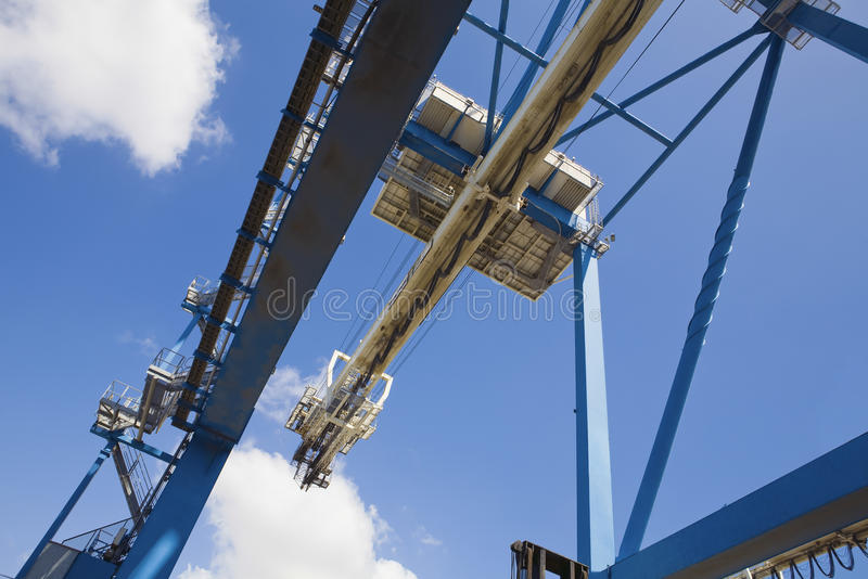 Low Angle View Of Dockside Crane. Against the sky Limassol Cyprus royalty free stock images