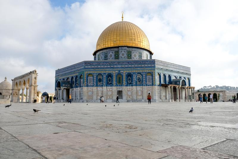 Low angle view of the famous Dome of the Rock on Temple Mount in Jerusalem, Israel. Low angle view of the Dome of the Rock and the surrounding plaza stock photography