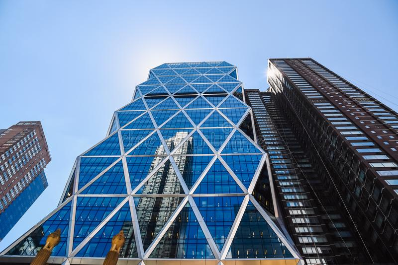 Low angle view of Hearst Tower in New York City royalty free stock photos