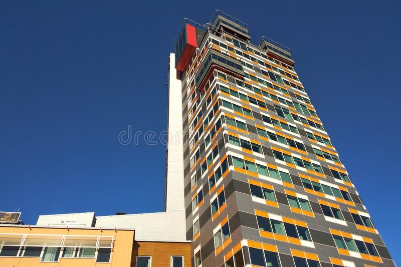 Low angle view of high multistorey office building.  stock photo