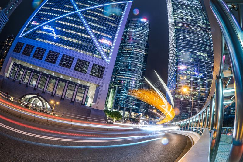 Low angle view of Hong Kong Traffic and Building at Night with speed light in HongKong. China royalty free stock photography