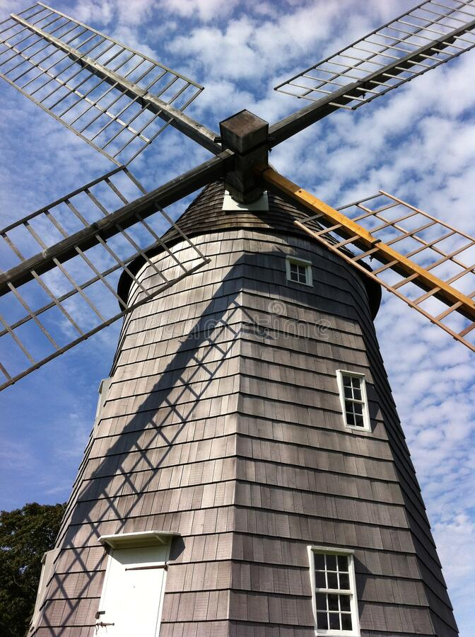 Low angle view of Hook Windmill in East Hampton. Low angle picture of the beautiful Hook Windmill also as Old Hook Mill is a historic Windmill built in 1806 and stock photos