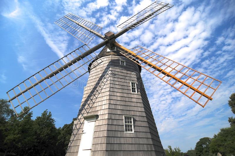 Low angle view of Hook Windmill in East Hampton. Low angle picture of the beautiful Hook Windmill also as Old Hoo Mill is a historic Windmill built in 1806 and royalty free stock images