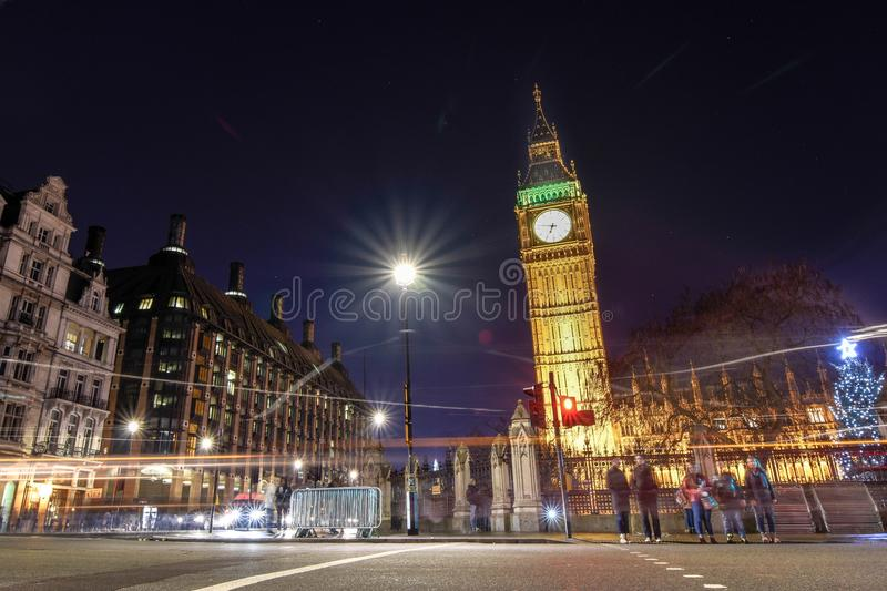 Low Angle View of Illuminated Tower at Night royalty free stock photography