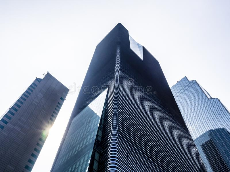 Low angle view of modern skyscrapers in Seoul, South Korea. Perspective from below. Business concept royalty free stock images