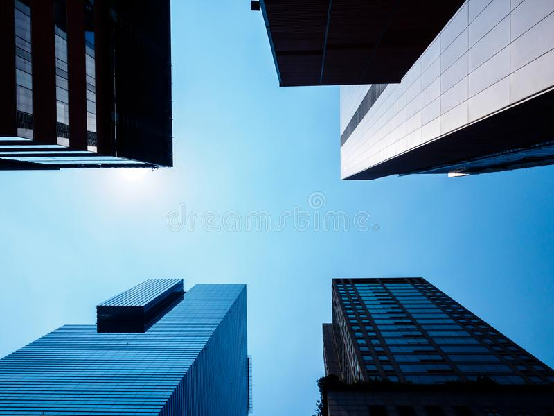 Low angle view of modern skyscrapers in Seoul, South Korea. Perspective from below stock photography