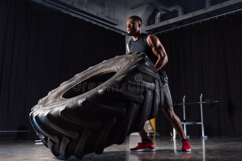 Low angle view of muscular african american man. Training with tyre and looking away royalty free stock photography