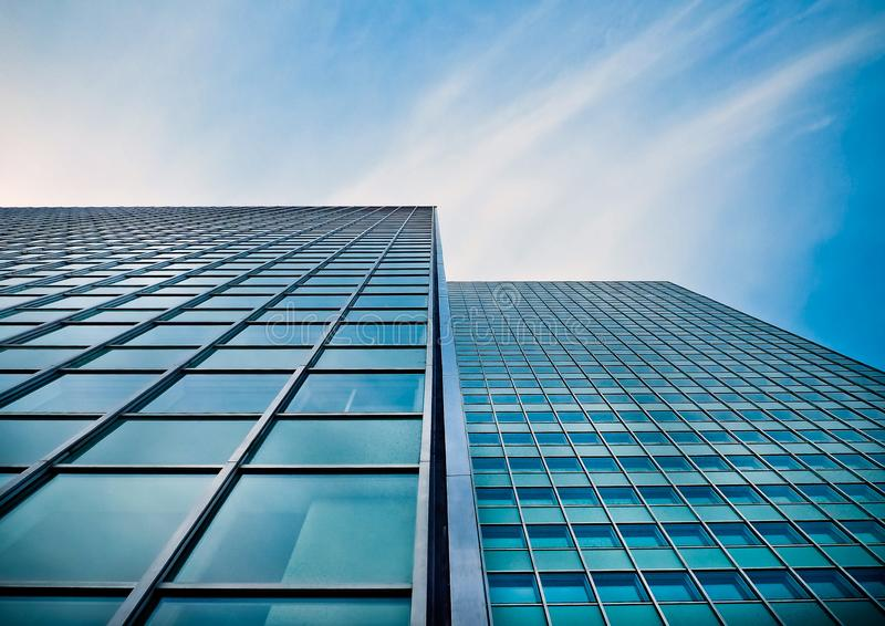 Low Angle View of Office Building Against Blue Sky royalty free stock photos