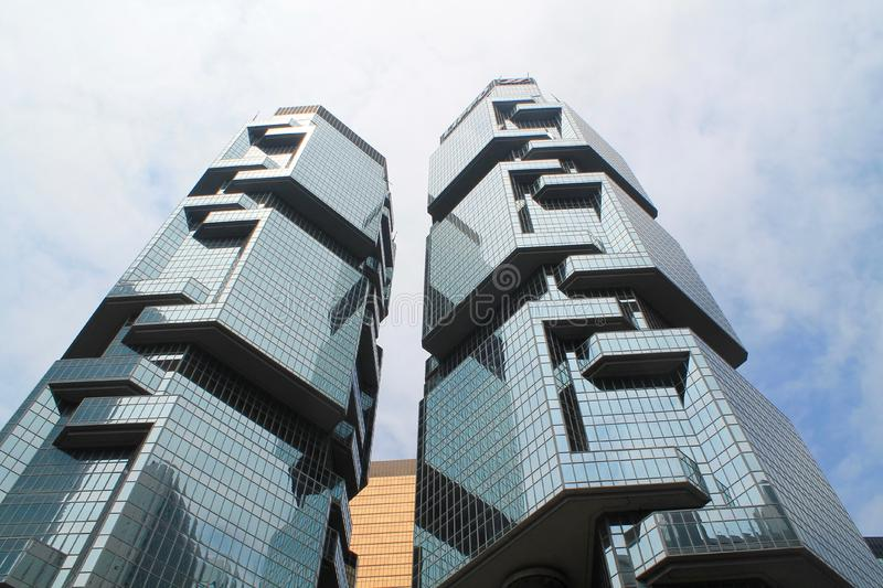 Low Angle View of Office Building Against Sky stock images