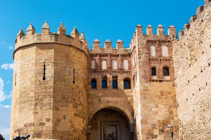 Medieval gate of San Andres in Segovia stock image
