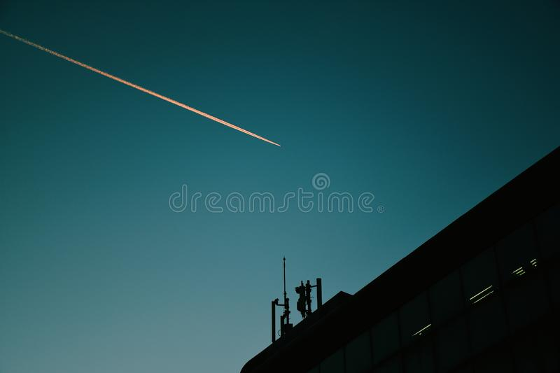 Low Angle View Of Silhouette Building Against Clear Blue Sky royalty free stock image