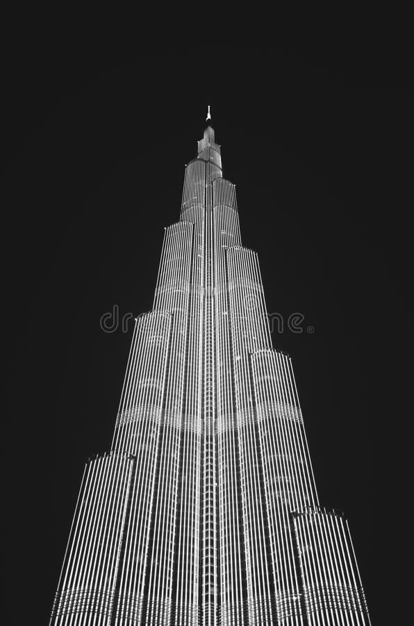Low Angle View of Skyscraper Against Sky at Night stock photography