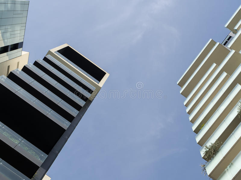 Low angle view of skyscraper. In Milan stock photo