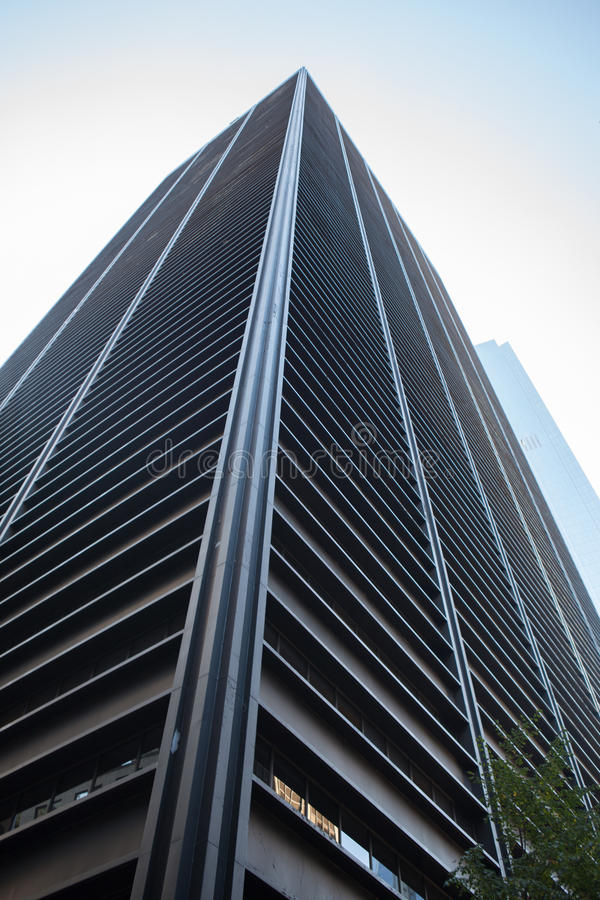 Low angle view of skyscraper. Under blue sky royalty free stock images