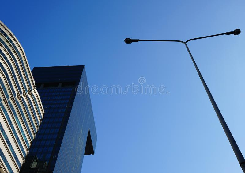 Low angle view of skyscrapers Business Office with blue sky, Cor stock photography