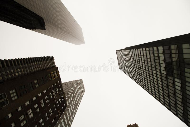 Low angle view of skyscrapers stock photos