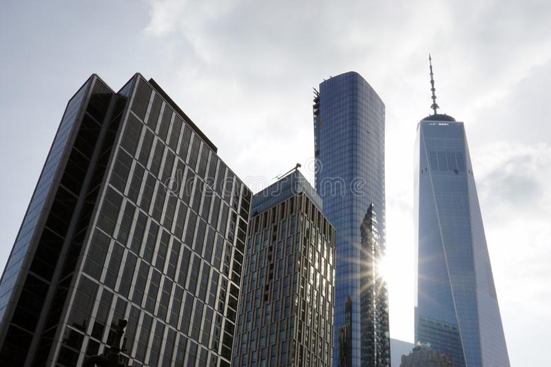 A low angle view of skyscrapers in New York City in a cloudy day royalty free stock image