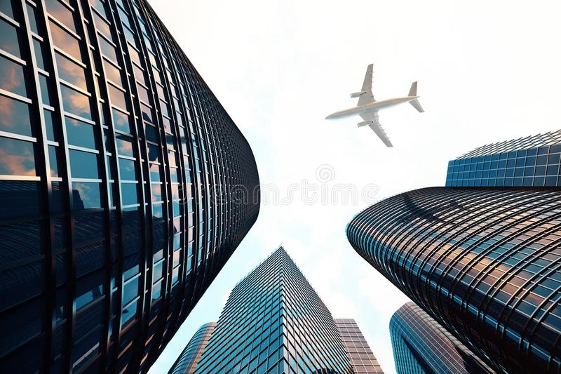 Low angle view of skyscrapers. Skyscrapers at sunset looking up perspective. Bottom view of modern skyscrapers in royalty free stock photos