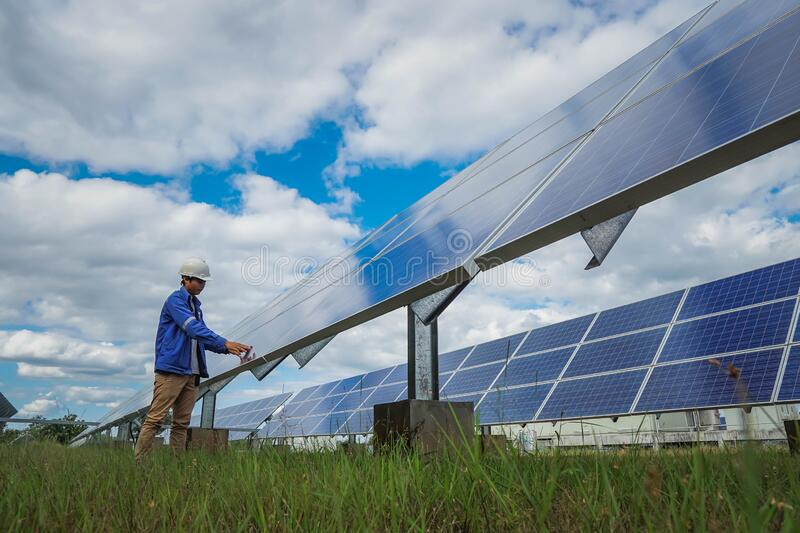 The low angle view of the solar farmsolar panel, alternative electricity source, this`s the sun tracking systems, Photovoltaic. Module idea for clean energy stock image