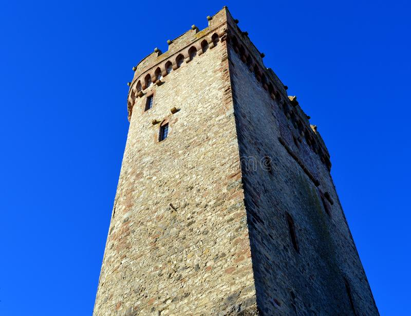 Low Angle View of Tower Against Clear Blue Sky stock photography