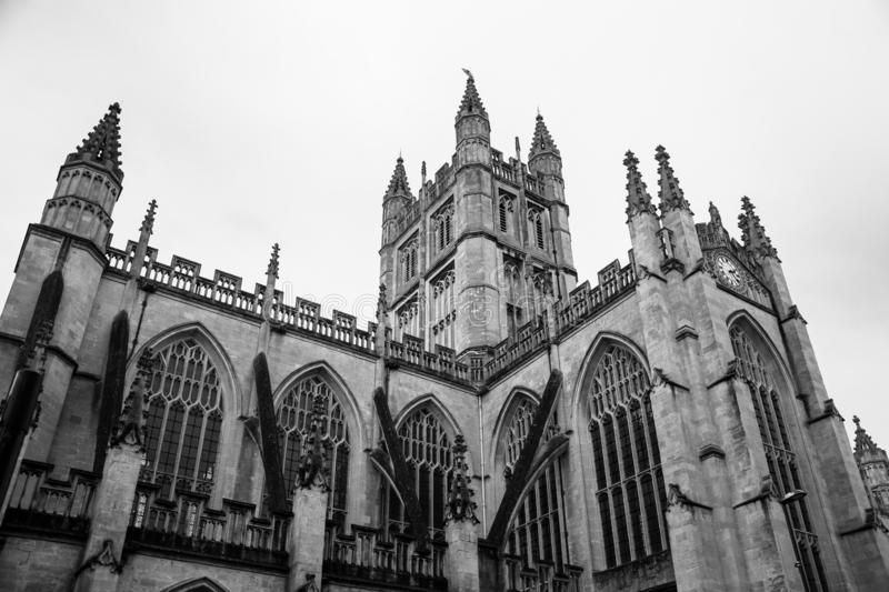A low angle view of Bath Catherdral on Orange Grove. A low angle view of the towering edifice of Bath Catherdral on Orange Grove stock images