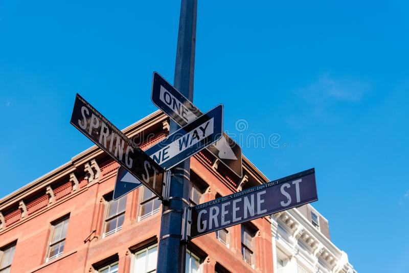 Typical building and street name sign in New York royalty free stock photos