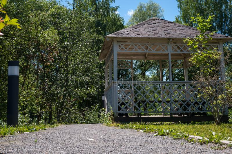 Low angle view of wooden summerhouse royalty free stock photo