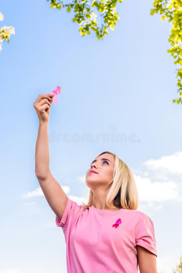 Young woman with pink ribbon stock images