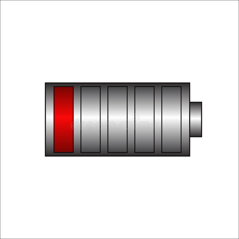 Low battery.Battery charging status indicator.power battery illustration on isolated  background.Total discharge. vector. Low battery. Battery charging status royalty free illustration