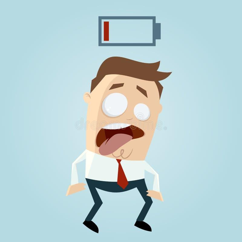 Low battery businessman vector illustration