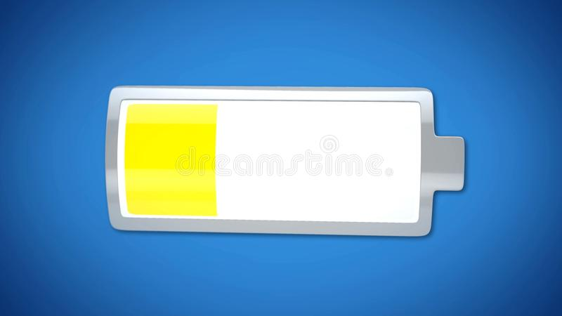 Low battery charge, yellow warning, energy saving mode, laptop power management. Stock footage royalty free stock image