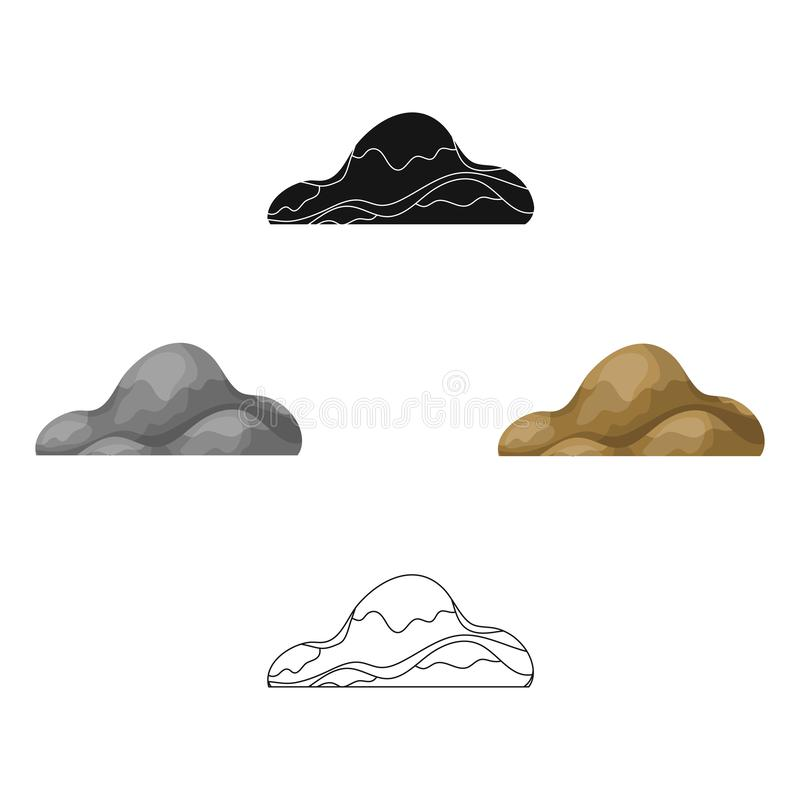 Low brown sand mountain.Different mountains single icon in cartoon,black style vector symbol stock illustration. Low brown sand mountain.Different mountains vector illustration
