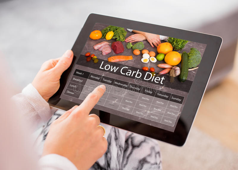 Low Carb Diet. On tablet computer royalty free stock photography